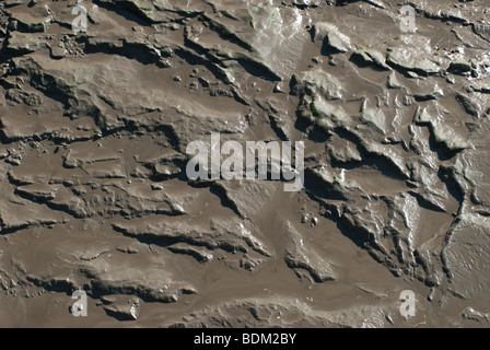Squelching mud in a river bed - Stock Photo