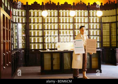 Recreation of old pharmacy in El centro de plantas medicinales science museum in Tejeda on Gran Canaria, Canary - Stock Photo