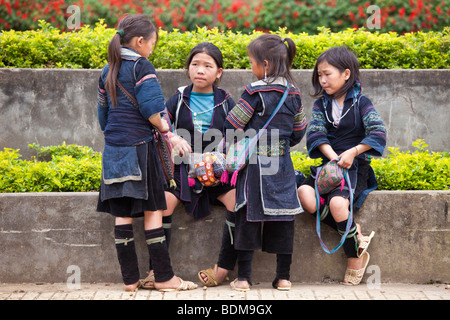 Hmong lady in Sapa, North Vietnam - Stock Photo