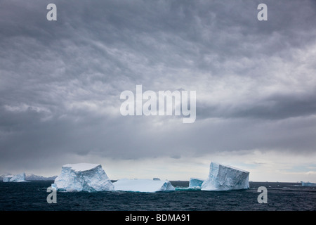 Big blue icebergs float north in the ocean near South Georgia Islands under eerie moody stormy overcast skies - Stock Photo