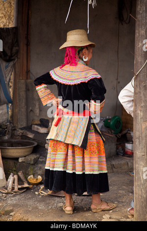 Flower Hmong tribe from northern Vietnam - Stock Photo