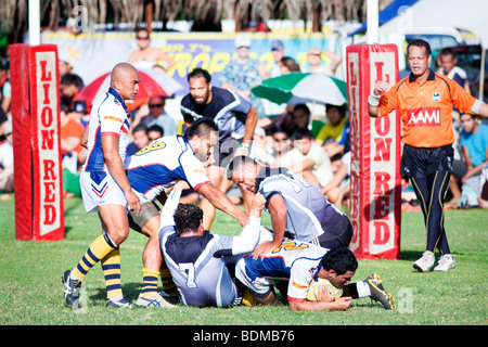 A rugby game on Rarotonga in The Cook Islands next to the sea - Stock Photo