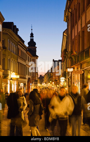 Pedestrian zone main street, historic centre of Heidelberg at night, Baden-Wuerttemberg, Germany, Europe - Stock Photo