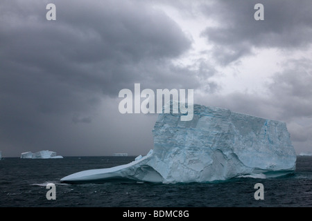 Big blue icebergs float north in the Southern ocean near South Georgia Islands under eerie moody stormy overcast - Stock Photo