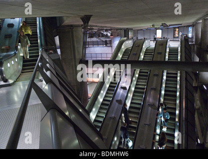 Escalators on the London Underground at Westminster Station. - Stock Photo