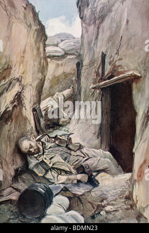 Dead German soldiers in a trench during the First World War. - Stock Photo