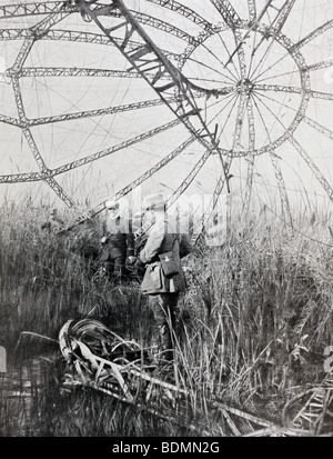 Wreckage in France of a German Zeppelin airship shot down during the First World War. - Stock Photo