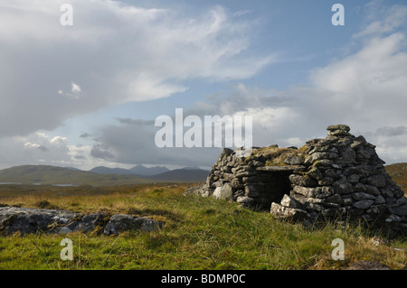 Ruined shieling, Conostom, Isle of Lewis, Scotland - Stock Photo