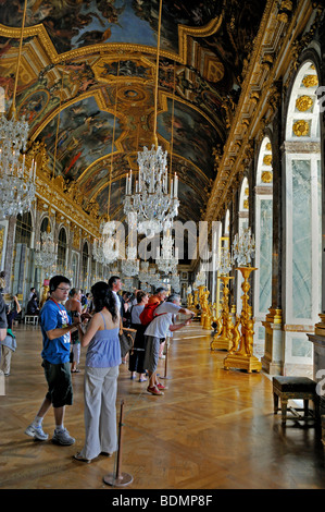 Paris, France - Tourists Visiting French Monument, 'Chateau de Versailles', Royal Ballroom, 'Hall of Mirrors' french - Stock Photo