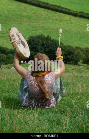 goddess chanting from the top of Glastonbury Tor Somerset England - Stock Photo