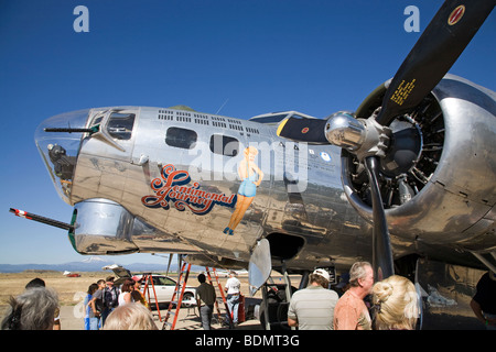 Bombadiers compartment and nose gunner on the Sentimental Journey, a restored World War II WWII era B-17 bomber