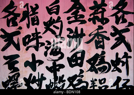 Chinese characters on a restaurant menu in China Town, Manhattan, New York City, USA, North America - Stock Photo