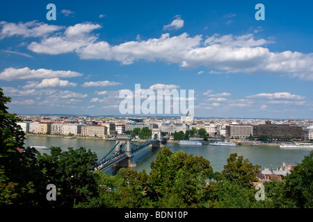 Pest Skyline as seen from the Buda castle hill, Budapest Hungary - Stock Photo