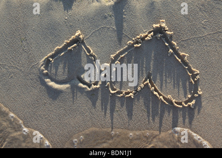two hearts scratched on a sandy beach next to the waters edge with waves. Photo by Willy Matheisl - Stock Photo