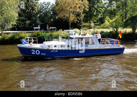 Police boat on the Spree river, close to the Bundeskanzleramt Federal Chancellery, capital Berlin, Germany, Europe - Stock Photo