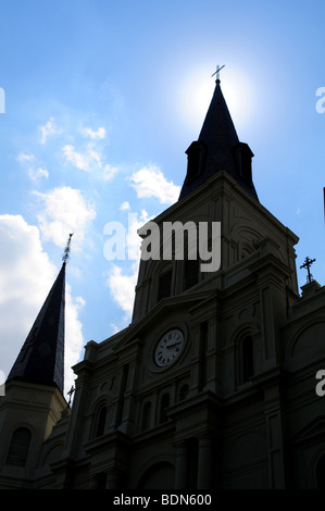 St. Louis Cathedral at Jackson Square in New Orleans Louisiana near the French Quarter - Stock Photo