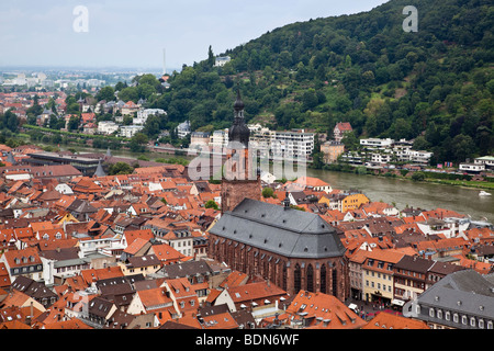 Elevated view of the Heidelberg cathedral, city center and Neckar river from Heidelberg castle - Stock Photo