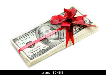 Money and red ribbon for gift - Stock Photo