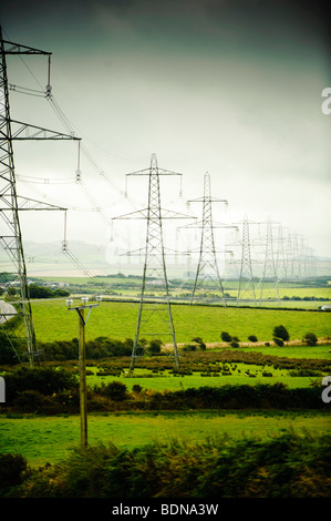 A row line of national grid Electricity pylons marching across the rural landscape of Anglesey, north wales UK - Stock Photo