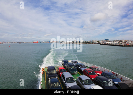 Cars on the deck of the 'Red Falcon', Red Funnel ferry, as it leaves Southampton For Cowes, IOW, UK - Stock Photo
