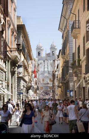 Via Condotti, at the rear the Santa Trinita dei Monti church, Piazza di Spagna, Spanish Steps, Rome, Lazio, Italy, - Stock Photo
