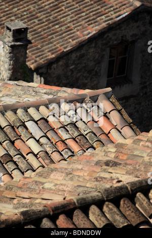 Roof top of the village of Villeneuve Loubet Alpes-MAritimes 06 PACA Cote d'azur French Riviera France Europe - Stock Photo