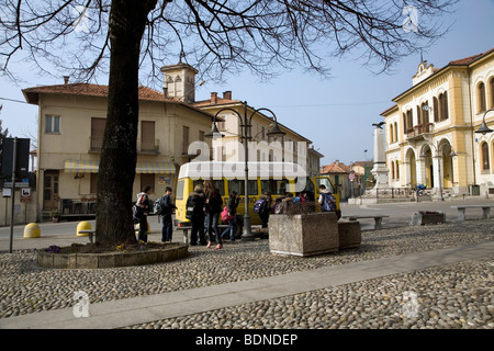 a field trip from Armeno Junior High School (scuola media) is in progress, the students filed to take their places - Stock Photo