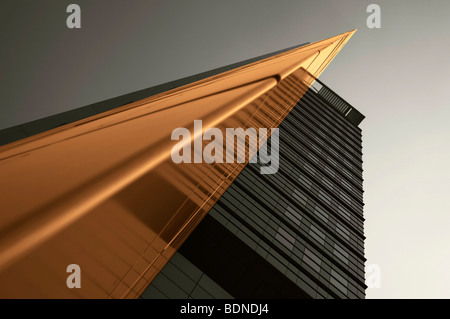 Architectural picture of a multistory building, in Frankfurt, Hesse, Germany, Europe - Stock Photo