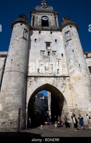 Porte de la Grosse Horloge in Vieux Port Old Harbour of La Rochelle, France. - Stock Photo