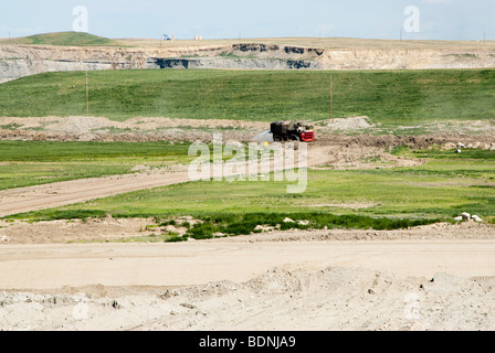 surface mine reclamation at Eagle Butte coal mine in Wyoming - Stock Photo