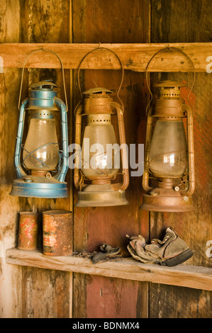 Lanterns hanging in old building, Bodie Ghost Town, Eastern Sierra, California - Stock Photo