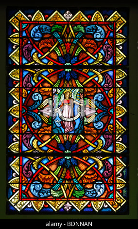 Church window, stained-glass window of the Saint-Théodule parish church in Vers-l'Eglise, Ormonts-Dessus, Vaud, - Stock Photo