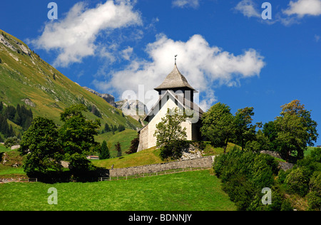 Reformed Saint-Donat Church, Chateau-d'Oex, Pays d'en Haut, Vaud, Switzerland, Europe - Stock Photo