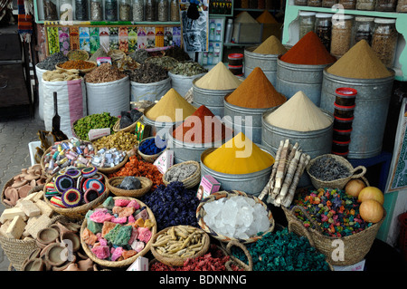 Herb & Spice Stall or Herbalist in the Spice Market, Bazaar or Souk, Marrakesh, Morocco - Stock Photo