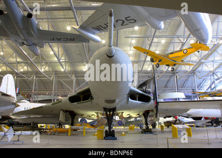 The Avro Vulcan 698 B2 strategic bomber,currently displayed in the Air Space Hangar,Imperial War Museum Duxford,England. - Stock Photo