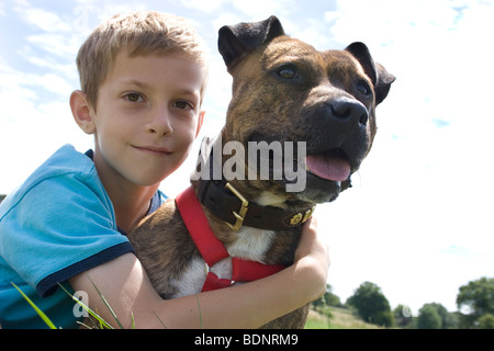 young boy outdoors with his staffordshire bull terrier - Stock Photo
