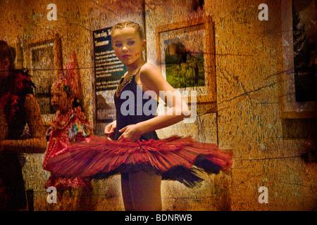 A young ballet dancer wearing a tutu - Stock Photo