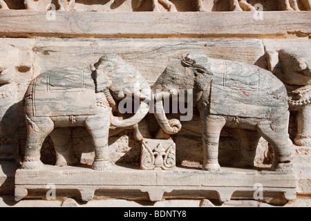 Wall detail of the Jagdish Mandir Temple, Udaipur, India - Stock Photo