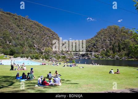 People in First Basin, Cataract Gorge, Launceston, Tasmania, Australia - Stock Photo