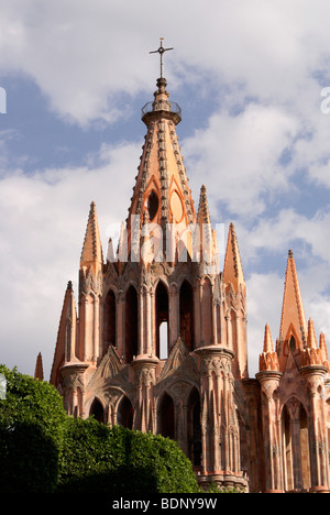 The Parish Church or Parroquia de San Miguel Arcangel in San Miguel de Allende, Guanajuato, Mexico - Stock Photo