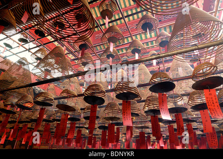 Wound incense as sacrificial offerings in the Man Mo Temple, Hong Kong, China, Asia - Stock Photo