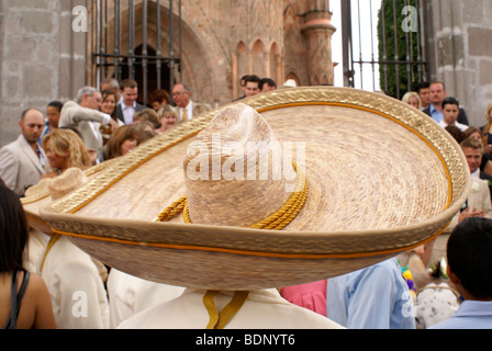 Close up of a Mariachi player's Mexican very large sombrero at a wedding in San Miguel de Allende, Mexico - Stock Photo