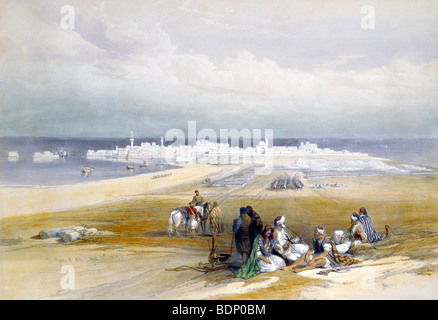 Oriental Painting Of Arab Travellers At St Jean D'Acre Eastern Medet Bay  Haifa 24th April 1839 - Stock Photo