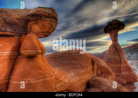 Toadstool rock formation in Grand Staircase-Escalante National Monument Utah - Stock Photo