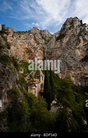 Pilgrimage chapel of Notre-Dame-de-Beauvoir, Moustiers Sainte Marie, Provence-Alpes-Cote d'Azur, Alpes-de-Haute - Stock Photo