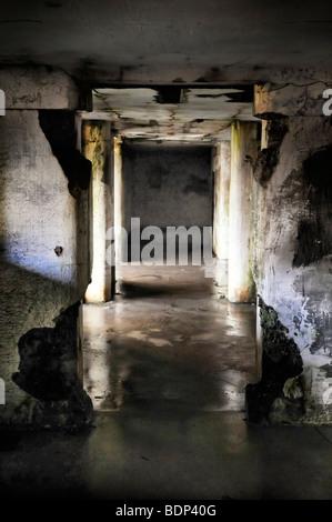 A dark wet underground hallway in decay - Stock Photo