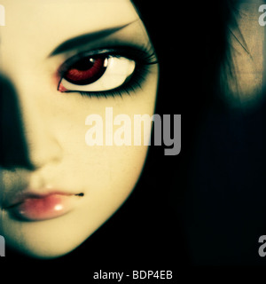 Close up of a sultry dolls face with large brown eyes - Stock Photo