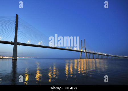 Vasco da Gama bridge over the Rio Tejo river in the Parque das Nações park, site of the Expo 98, Lisbon, Portugal, - Stock Photo