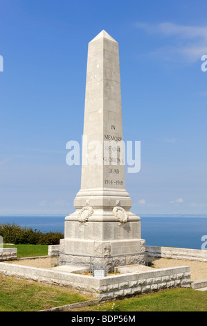 Obelisk as a war memorial to commemorate the fallen soldiers of World War I, the Isle of Portland, Dorset, England, - Stock Photo