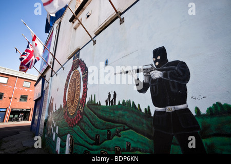 Protestant Loyalist Murals along the Shankill Road, Belfast, Northern Ireland - Stock Photo